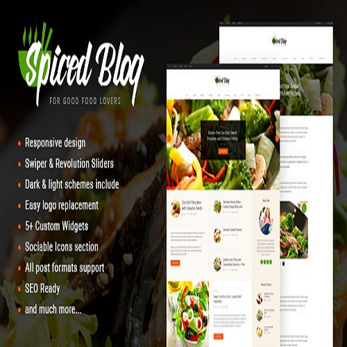 Spiced Blog A Crisp Recipes Food Personal Page WordPress Theme