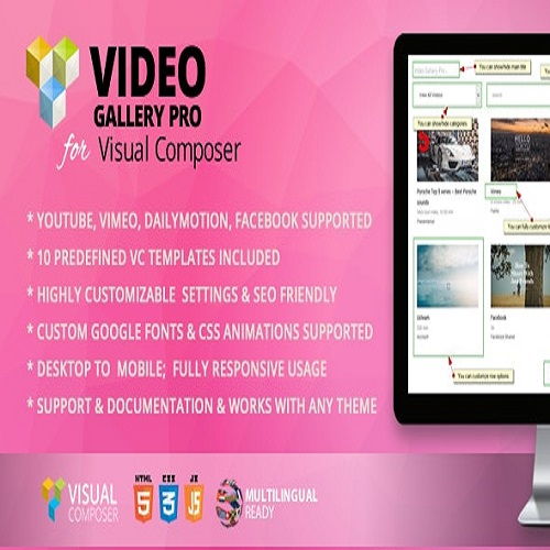 YouTube or Vimeo Gallery Addon for WPBakery Page Builder formerly Visual Composer