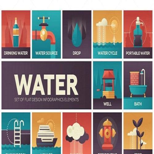 water concept flat design infographics elements 1574258407