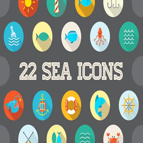 22 Vector Sea Flat Icons Set