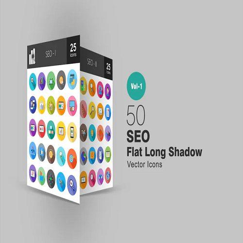 50 SEO Flat Long Shadow Icons
