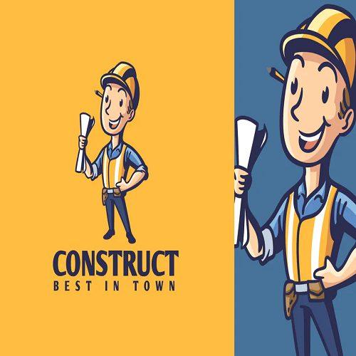 Cartoon Retro Vintage Contractor Mascot Logo