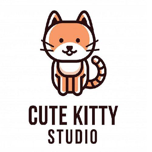 Cute Kitty Studio Logo Template