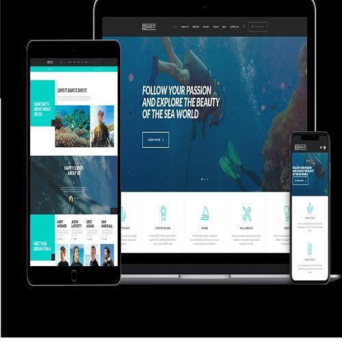 DiveIt Scuba Diving School Sea Adventure Travel WordPress Theme