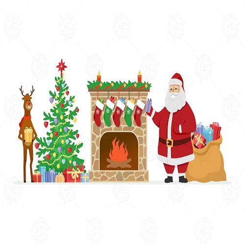 Santa and reindeer cartoon illustration