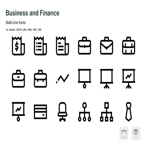 Business and Finance Mini Bold Line Icons