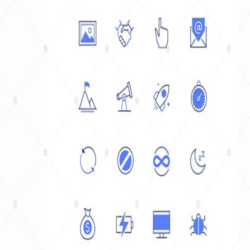 Business and safety line design style icons set