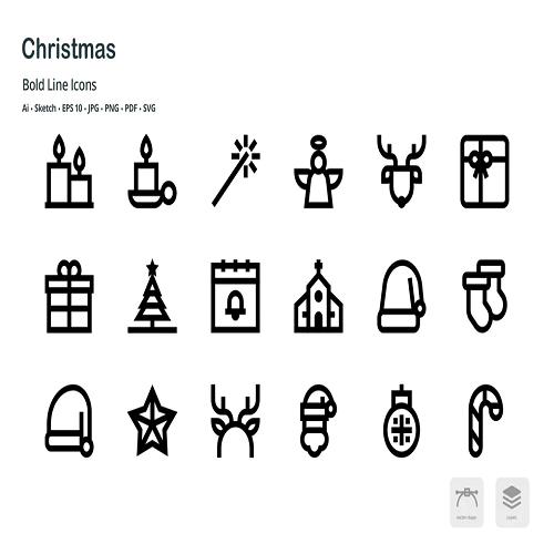 Christmas Celebration Bold Line Vector Icons