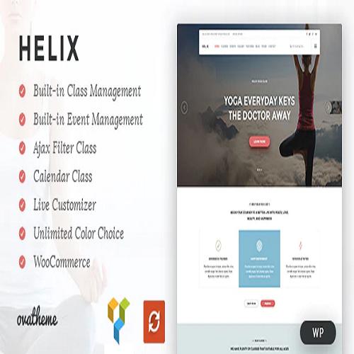 Helix Yoga Club Calendar WordPress Theme