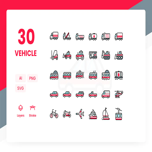 Vehicle Icons Pack Color