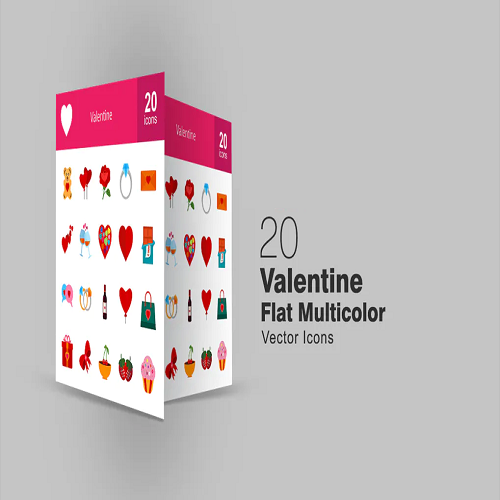 20 flat multicolored valentine icons