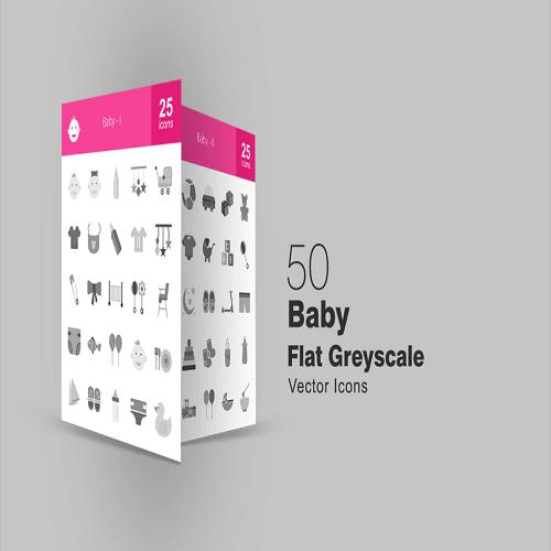 50 Baby Greyscale Icons