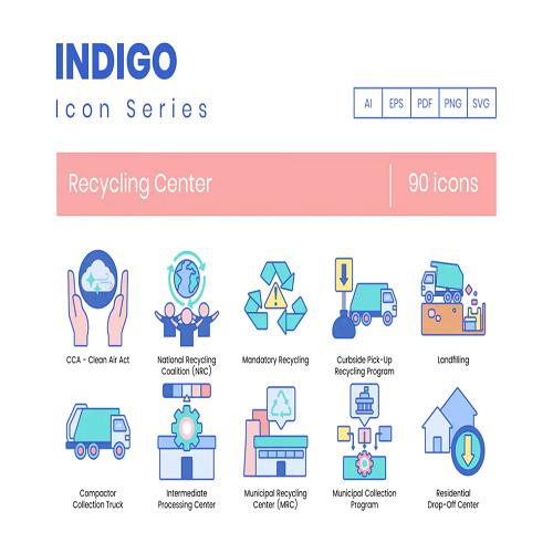 90 Recycling Center Icons Indigo Series