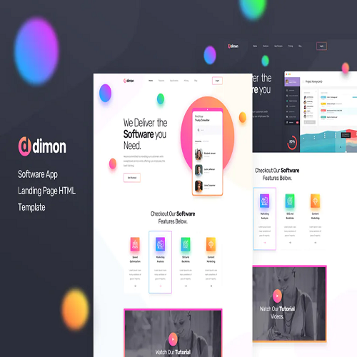 Dimon Software App Landing Page HTML Template
