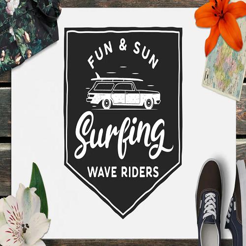 Surfing Retro Logo Design Wave Rider TShirt Print