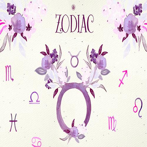 Zodiac signs set of twelve astrological symbols