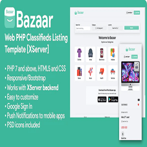 Bazaar Web PHP Social Listings Classifieds Shopping Template XServer