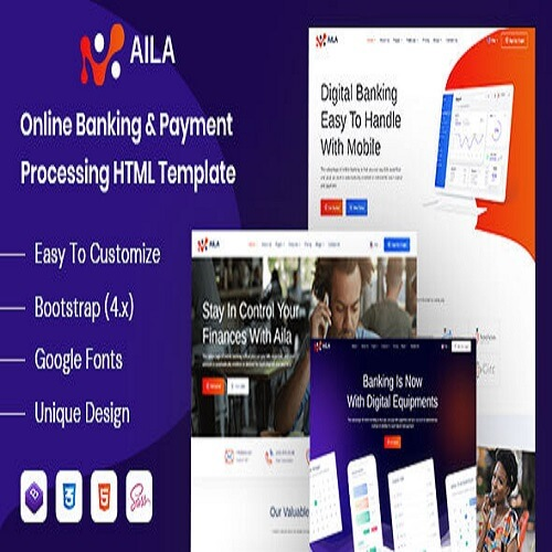 Aila Online Banking Payment HTML Template