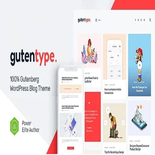 Gutentype 100 Gutenberg WordPress Theme for Modern Blog Elementor 2