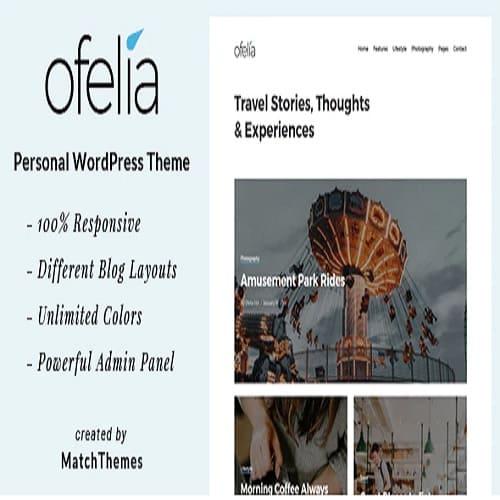 Ofelia Travel Personal WordPress Blog Theme